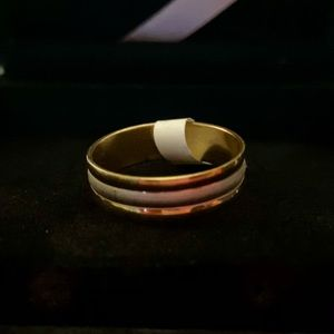 Stainless Steel Gold Tone Etched Band
